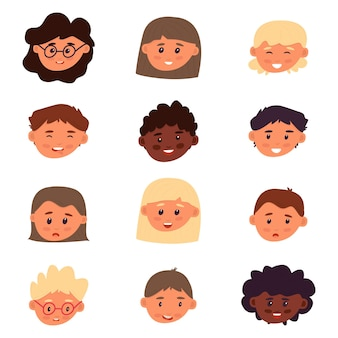 Conjunto de avatar infantil. meninos e meninas em fundo branco. variedade de emoções e humores. várias raças. molde isolado para design e criatividade. ilustração vetorial, plana.