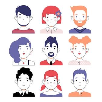 Conjunto de avatar isolado no fundo branco