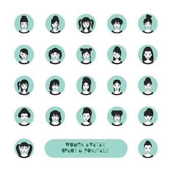 Conjunto de avatar mulher com penteados diferentes