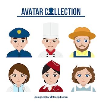 Conjunto de avatares com diferentes uniformes