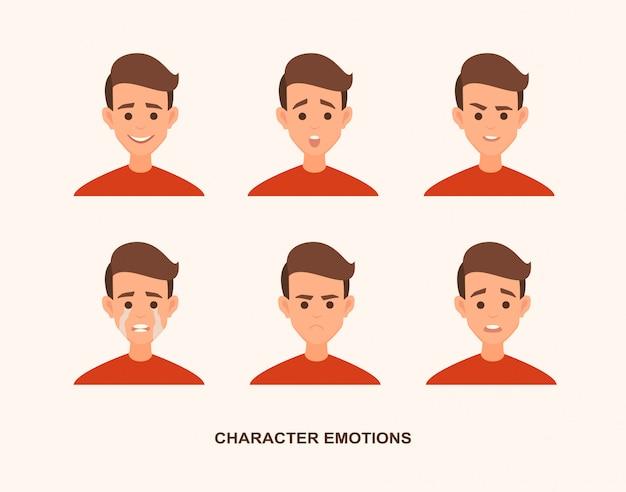 Conjunto de avatares com emoções de caráter, incluindo surpresa, felicidade, raiva, sorriso, sorriso
