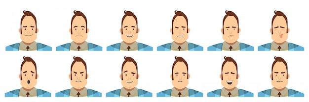 Conjunto de avatares com emoções masculinas, incluindo dúvidas de alegria