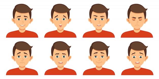 Conjunto de avatares com expressões faciais de criança