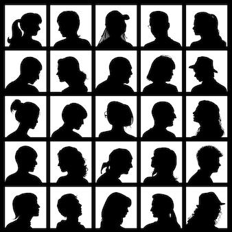 Conjunto de avatares com silhuetas realistas de pessoas