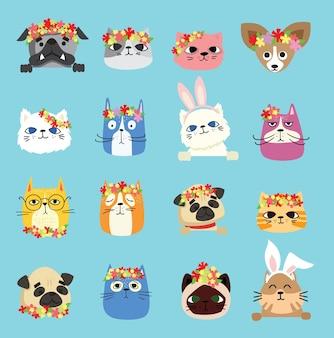 Conjunto de avatares de cães e gatos com flores da primavera.