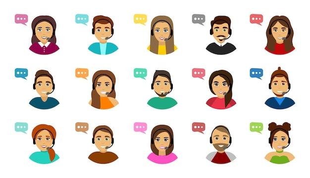 Conjunto de avatares de call center masculino e feminino. serviço de apoio ao cliente.