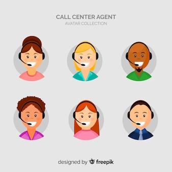 Conjunto de avatares de call center