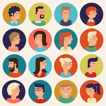 Conjunto de avatares de desenhos animados de material. personagens para web