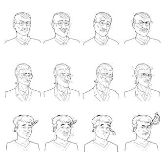 Conjunto de avatares de emoções de negócios