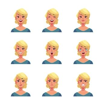 Conjunto de avatares de expressão de rosto de mulher loira