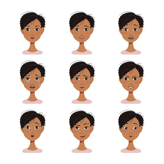 Conjunto de avatares de expressões faciais de uma mulher afro-americana com cabelo escuro
