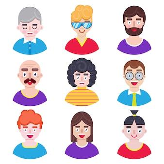Conjunto de avatares de garotos em estilo simples