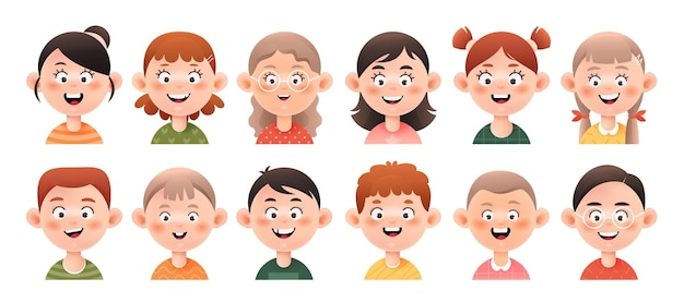 Conjunto de avatares de meninas e meninos. rostos sorridentes de meninas e meninos com penteados diferentes.