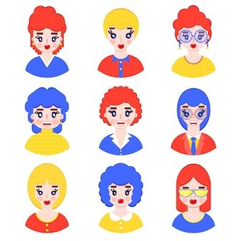 Conjunto de avatares de meninas em estilo simples em branco