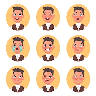 Conjunto de avatares de menino infantil expressando várias emoções. sorriso, riso, medo, perplexidade, raiva, lágrimas, tristeza, piscadela, ódio. ilustração em estilo cartoon.
