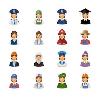 Conjunto de avatares de mulheres com profissões.
