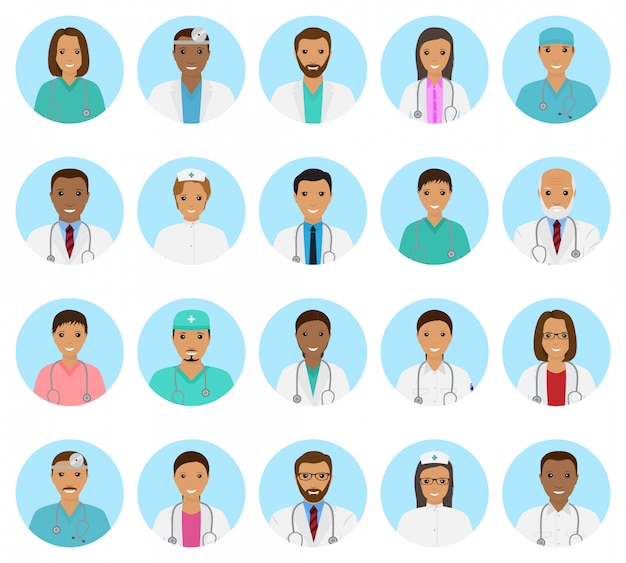 Conjunto de avatares de personagens de médicos e enfermeiros. ícones de pessoas médicas de rostos, sobre um fundo azul.