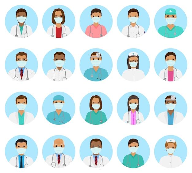Conjunto de avatares de personagens de médicos e enfermeiros. pessoas médicas com rostos com máscara.