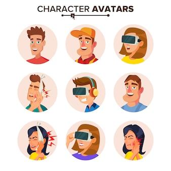 Conjunto de avatares de personagens de pessoas.