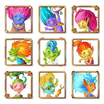 Conjunto de avatares de personagens troll de desenhos animados