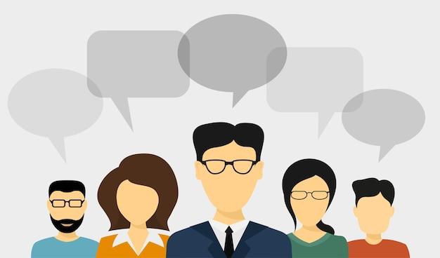 Conjunto de avatares de pessoas com balões de fala, ilustração de estilo, conceito de comunicação de pessoas