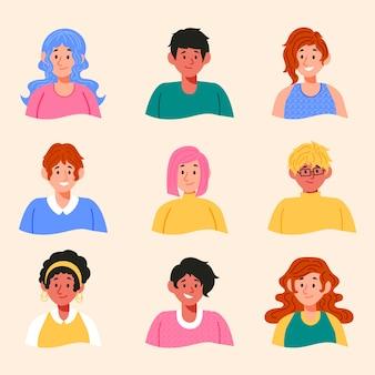 Conjunto de avatares de pessoas diferentes