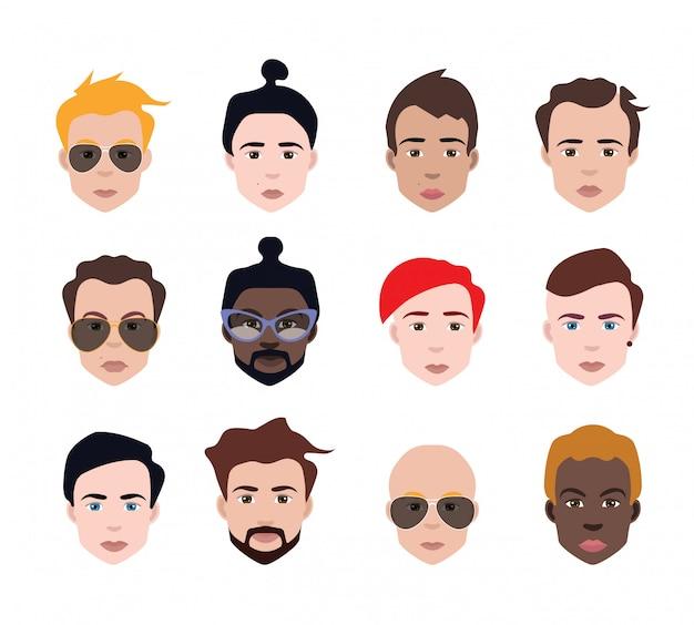 Conjunto de avatares de pessoas em estilo simples