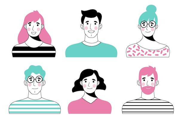 Conjunto de avatares de pessoas estilo mão desenhada