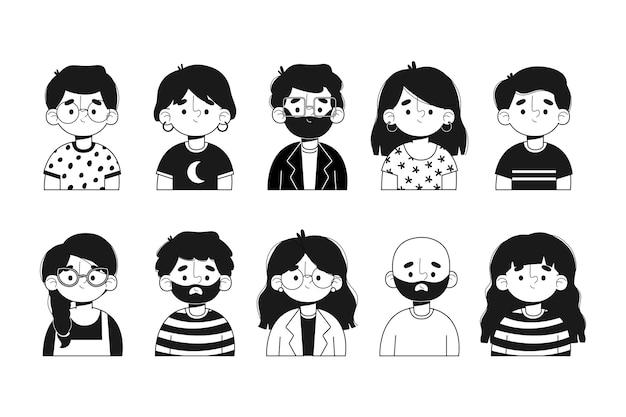 Conjunto de avatares de pessoas ilustradas