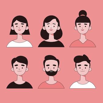 Conjunto de avatares de pessoas mão desenhada