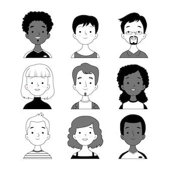 Conjunto de avatares de pessoas preto e branco
