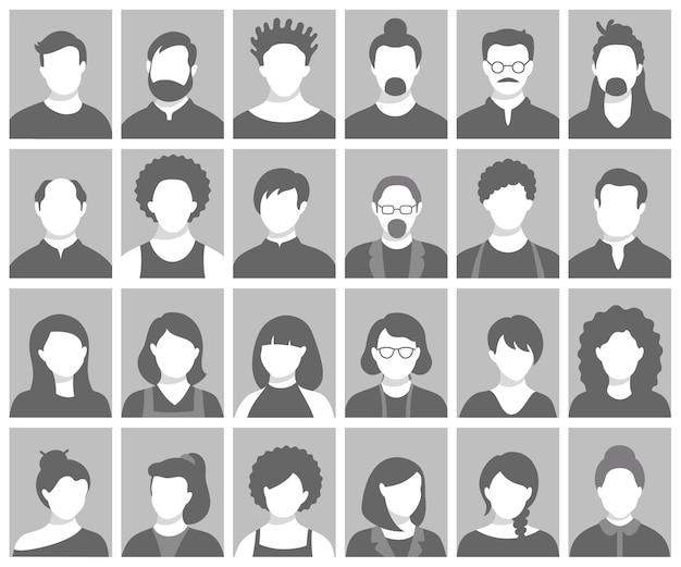 Conjunto de avatares de pessoas, silhuetas de cabeças de pessoas