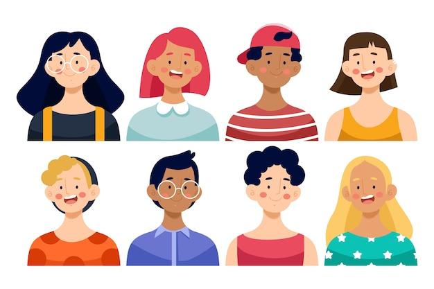 Conjunto de avatares de pessoas