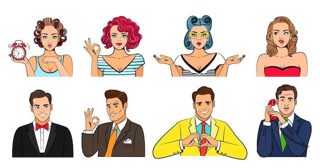 Conjunto de avatares de pop art