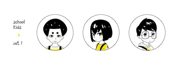 Conjunto de avatares de rapazes da escola negra e amarela