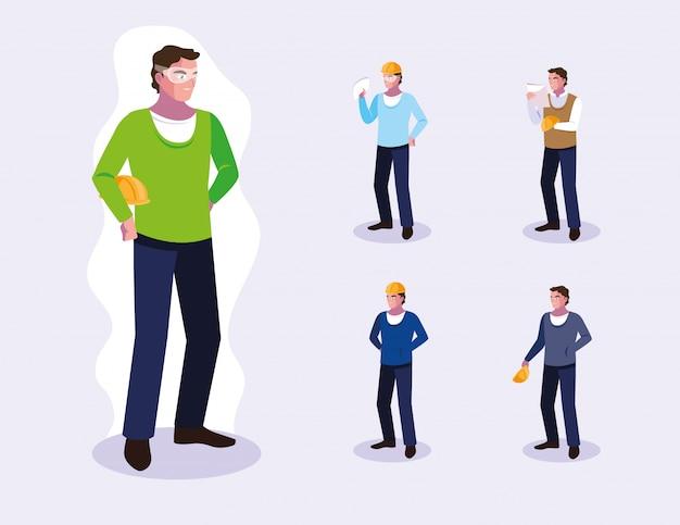 Conjunto de avatares de trabalhadores profissionais