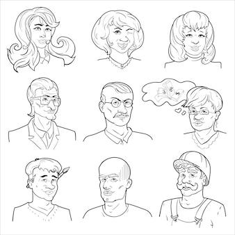 Conjunto de avatares desenhados à mão