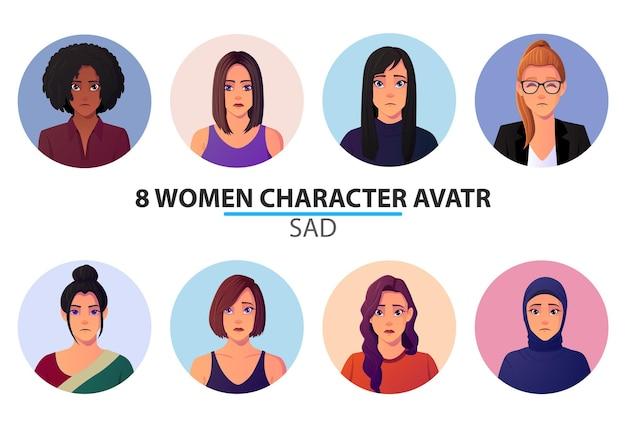 Conjunto de avatares e retratos de mulheres com rostos tristes.