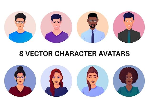 Conjunto de avatares e retratos de pessoas diferentes
