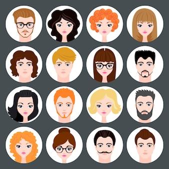 Conjunto de avatares elegantes de meninas e rapazes