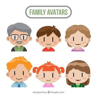 Conjunto de avatares familiares com design plano