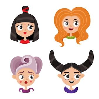 Conjunto de avatares femininos legais. retrato de mulher glamourosa com maquiagem e penteado vanguardista no estilo cartoon.