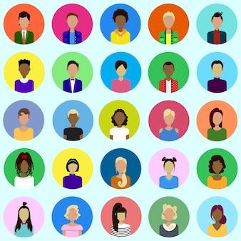 Conjunto de avatares masculinos e femininos, coleção de ícones de perfil