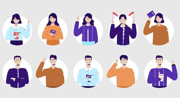 Conjunto de avatares. professores vestindo uniformes diferentes. comemorando o dia do professor.