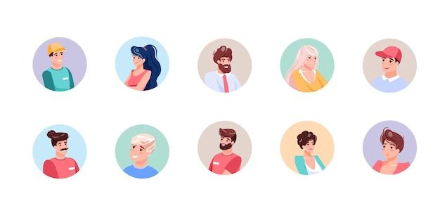 Conjunto de avatares sorridentes de personagens planos de diferentes idades