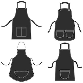 Conjunto de avental preto isolado no branco
