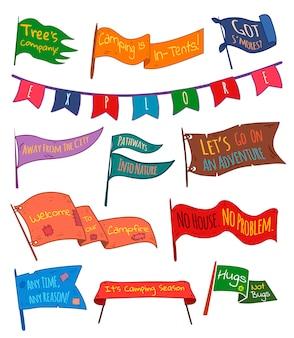 Conjunto de aventura, ao ar livre, campismo galhardetes coloridos