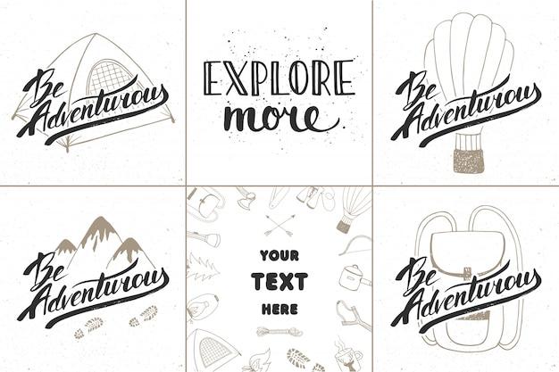 Conjunto de aventura e viagens tipografia desenhada à mão
