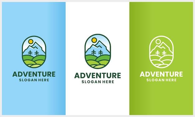 Conjunto de aventura natural com conceito de design de logotipo de estilo de arte de linha