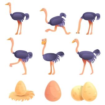 Conjunto de avestruz, estilo cartoon